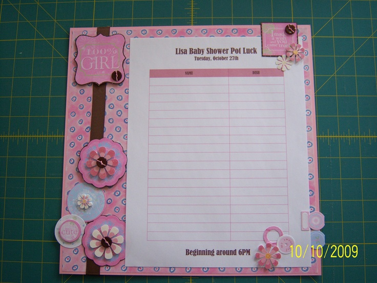 Baby Shower Sign Up Sheet