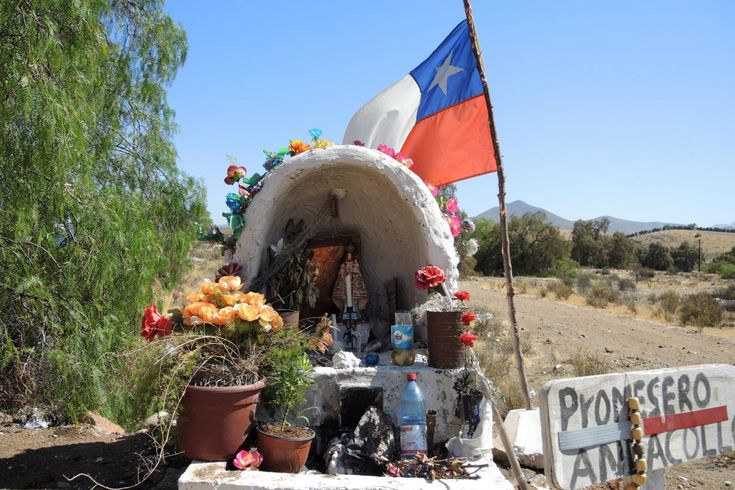 Roadside shrines to the dead, called animitas, line the roads from the desert north to the rainy south of the country, numbering iat least n the tens of thousands, especially along rural highways and in smaller, poor and working class cities and towns.