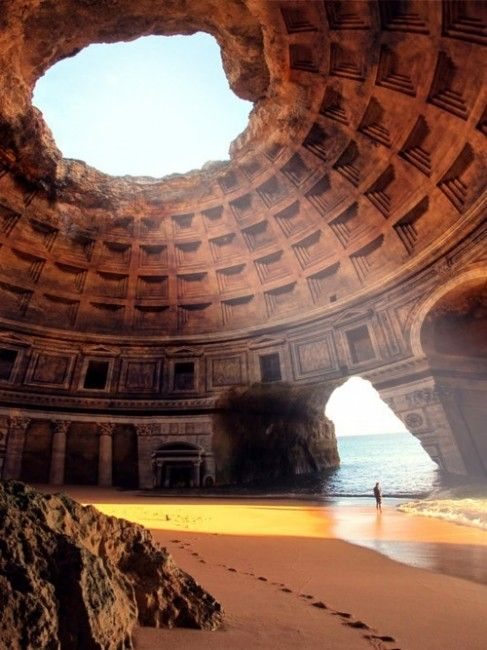The Forgotten Temple of Lysistrata, Portugal  ~  The creator of this picture simply combined a photo of the Pantheon in Rome and Benagil Cave in Algarve, Portugal
