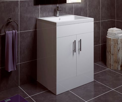 Thorpe White 600 Extra Depth Freestanding Vanity Unit with Sink - V50121238FS scene2 square medium