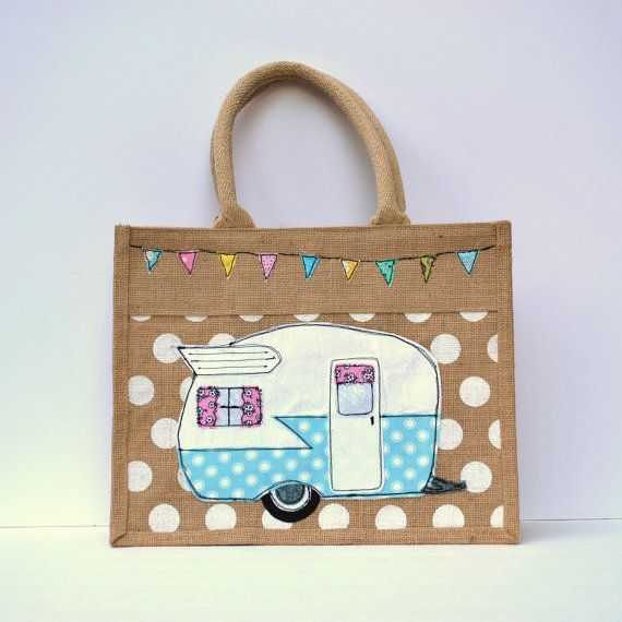 Vintage Camper Trailer Jute Tote Bag                                                                                                                                                                                 More