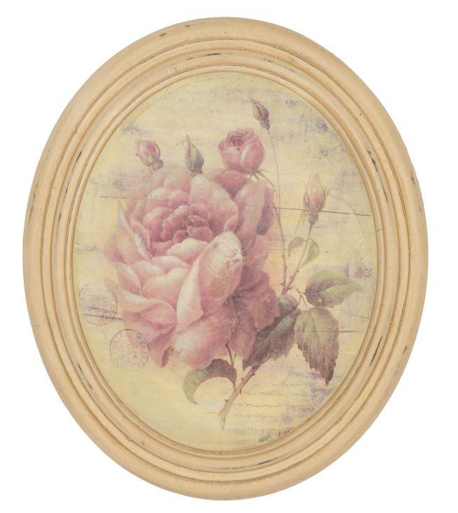 Cuadro ovalado con rosa Medidas: 27 * 32 * 6 cm
