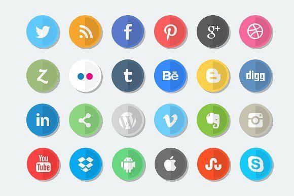 24 Flat Social Media Icon Set by Theme Trunk on @creativemarket