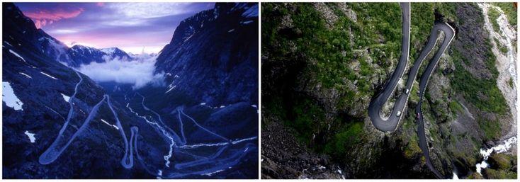 Дорога троллей, Норвегия«Лестница троллей» , протянувшая среди горных вершин в норвежском регионе Вестланн, является одной из самых популярных достопримечательностей юго-запада страны. Узкая трасса длиной 106 километров — образец инженерного искусства: серпантин насчитывает 11 крутых поворотов. На некоторых участках ширина дороги не превышает 3,3 метров.