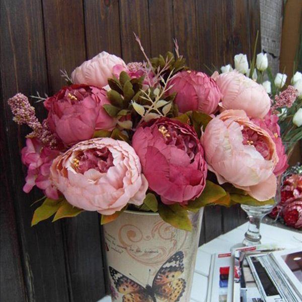 2 цвет 1 xBouquet элегантный искусственные пион шелковые цветы цветочные 8 отправиться домой свадебные Disply украшения купить на AliExpress