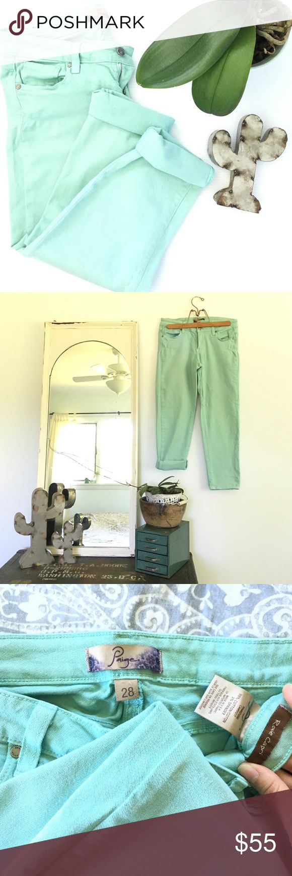 Listing! Paige Roxie mint capris Adorable Paige Roxie capris in mint. Size 28. In great condition! One *tiny* little spot on the right leg by the seam. See picture three. Not at all noticeable, I just wanted to mention. 98% cotton. 2% spandex. 14.5 inch waist. 8 inch rise. 24 inch inseam. Stock image is the same capris, just different color. So cute for summer! Paige Jeans Pants Capris
