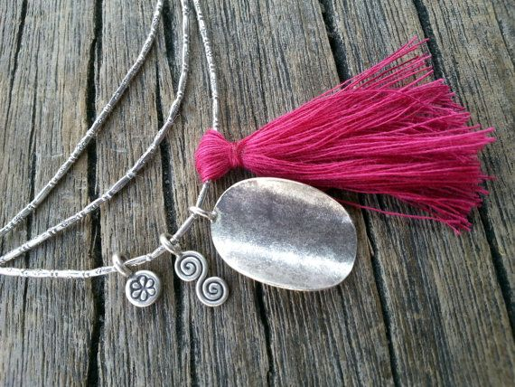 Long Sterling Silver Tassel Necklace Waved Disc by PiscesAndFishes