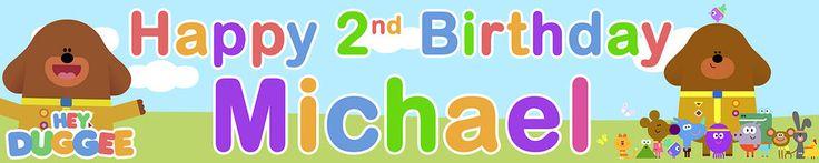 2 x HEY DUGGEE PERSONALISED BIRTHDAY BANNERS | eBay