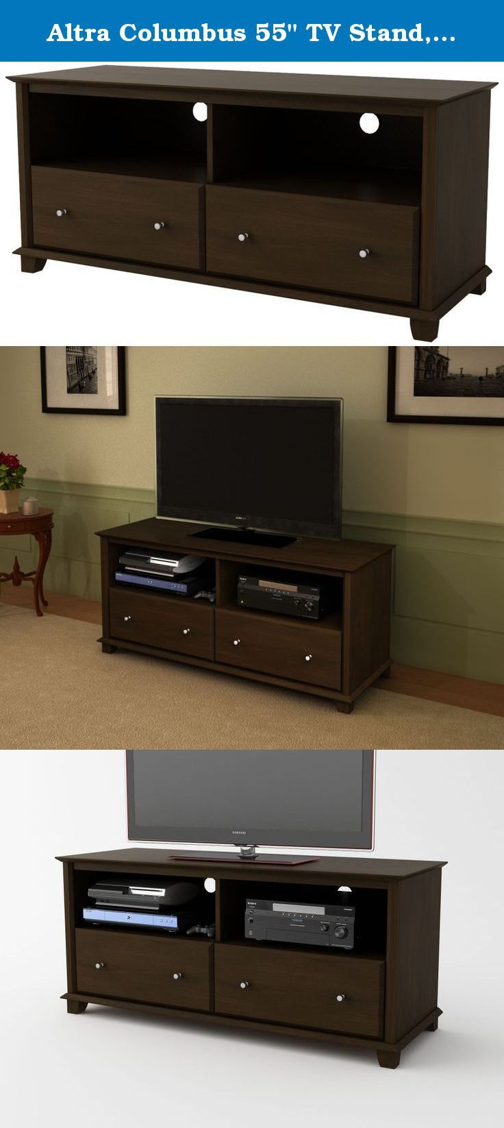 """Altra Columbus 55"""" TV Stand, Resort Cherry. Make your TV room more inviting with the warm Cherry finish of the Altra Columbus 55"""" TV Stand. Accented by brushed nickel drawer pulls, this versatile piece is equally at home in transitional and modern environments. The TV Stand features a profiles top and bottom for a classic, well-crafted look. This Stand accommodates flat panel TVs up to 55"""" wide. Two open compartments let you store your cable box, DVD player or gaming system easily. Use the…"""