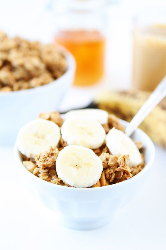Peanut Butter, Banana, and Honey Granola Recipe on twopeasandtheirpo... This easy granola is easy to make at home and great for breakfast or snacking!