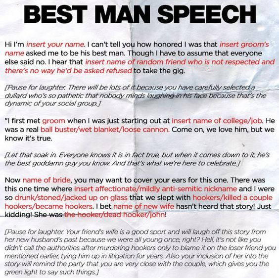 17 Best Ideas About Best Man Speech Template On Pinterest