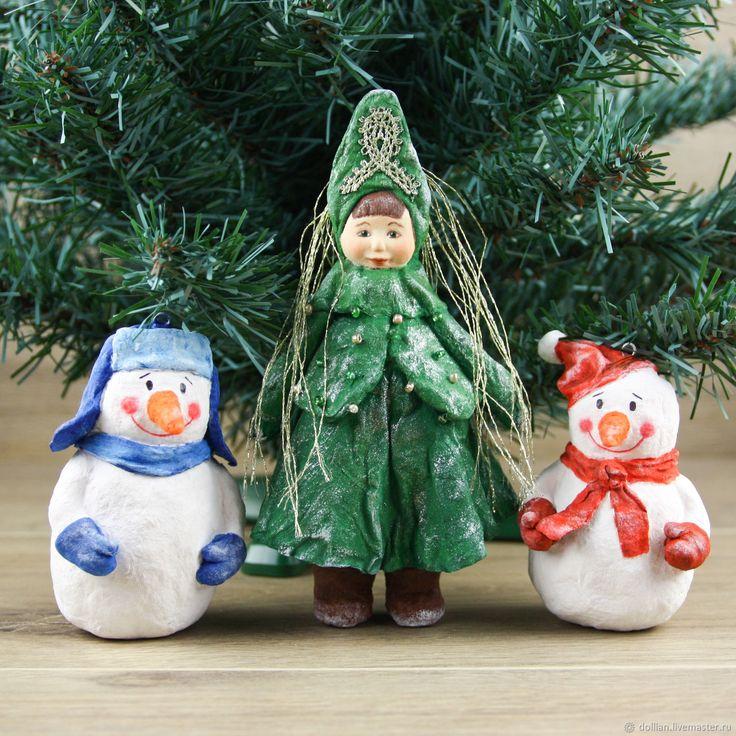 Купить Ватные елочные игрушки ручой работы. Елочка и снеговики в интернет магазине на Ярмарке Мастеров