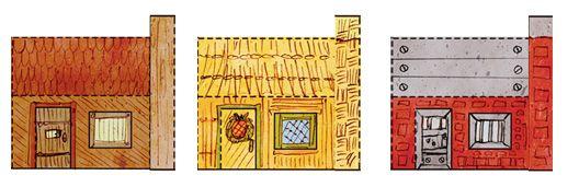 """Maisons des """"Trois Petits Cochons"""" en papier fort à ..."""