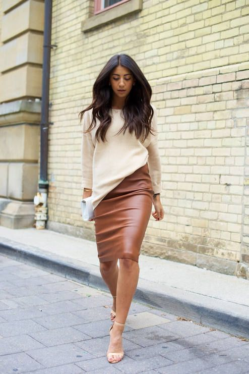 Not Your Standard Cream And Camel Knit And Leather Outfit Idea