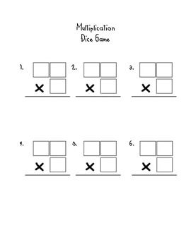 2 digit by 1 digit multiplication dice game