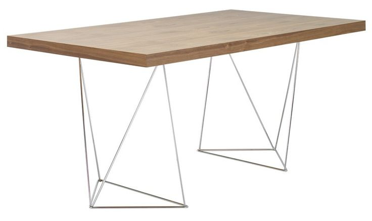 Multi Skrivebord - valnød - Et flot og skulpturelt bord, med slanke ben i et nutidigt design og en bordplade i valnøddefarvet finér. Dette bord kan anvendes både som et skrivebord, men det vil også sagtens kunne agere som spisebord i det mindre køkken eller stue.