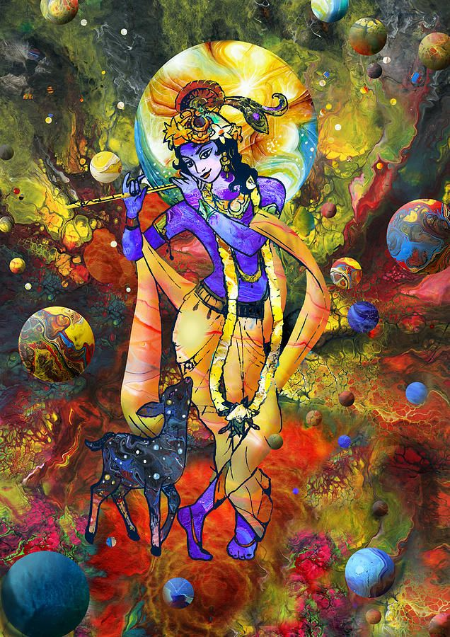 Krishna With A Star Deer Mixed Media by Lila Shravani
