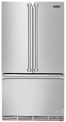Viking RVRF336SS 21.5 cu. ft. French Door Refrigerator with 4 Spillproof Glass Shelves, 5 Door Bins, Gallon Door Storage, 2 Adjustable Humidity Drawers and ColdZone Temperature Controlled Drawer