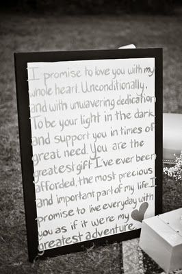 I promise to love you with my whole heart.  Unconditionally, and with unwavering dedication...