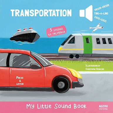 An interactive way to discover the different sounds of 5 means of transport!  What sound does this means of transport make? Children will have fun pressing the buttons in this noisy book and finding out! The book introduces some great first facts about five favorite transports—train, boat, car, airplane, and bicycle- and there are bright, colorful photographs of each one to look at too. A great noisy early learning board book!