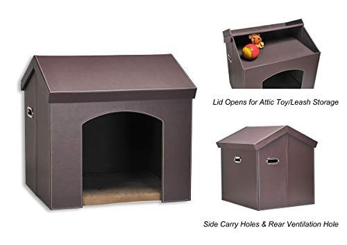Pawland Collapsible Leather Pet Haven Indoor Dog House For Small
