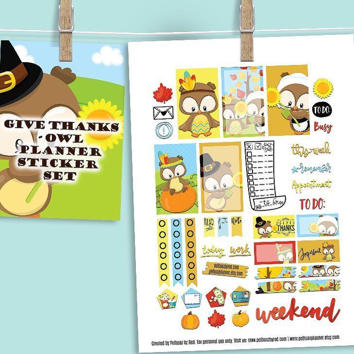 Have you seen these fabulous #plannerstickerset? Is all about #givethanks. Get your copy today. Enjoy a 40% off on all our items. This set is available at our @etsy shop. Look for pelhuazplanner. | Pelhuaz by Red | Handmade Jewelry | Planner Essentials | Planner Accessories | Fun Apparel