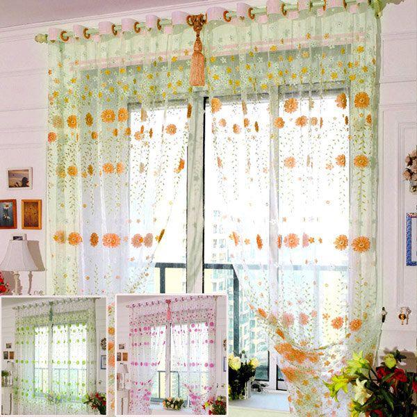 High-quality 100x200cm Chrysanthemum Voile Window Screening Balcony Bedroom Window Curtain - NewChic