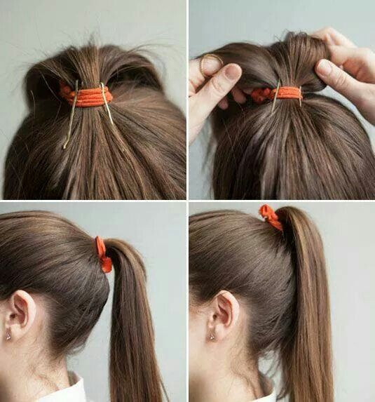 Pony tail hack. Keep your point tail from drooping.