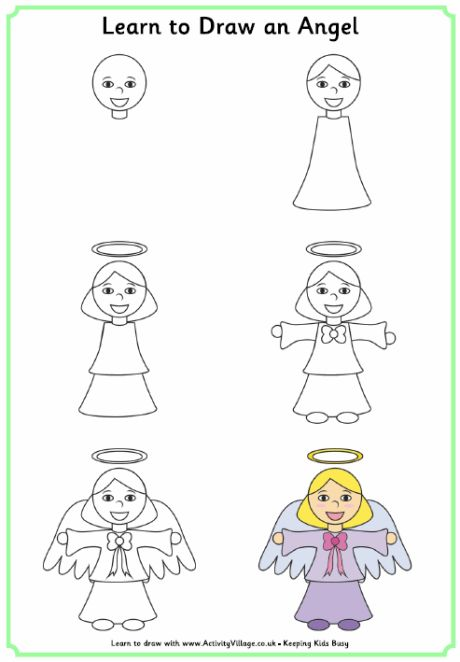 Learn to draw an angel, kids wanted to do a giant angel, I'm thinking tweak this and do it in white chalk.