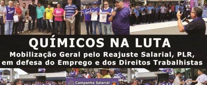 Los trabajadores de la industria química de Brasil de FEQUIMFAR y CNQ/CUT, afiliadas a IndustriALL, desarrollan movilizaciones en todo el país dentro de sus respectivas campañas para alcanzar un aumento salarial, generar más empleos y defender los derechos de la clase trabajadora