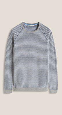 Esprit / Striped jacquard sweater in pure cotton
