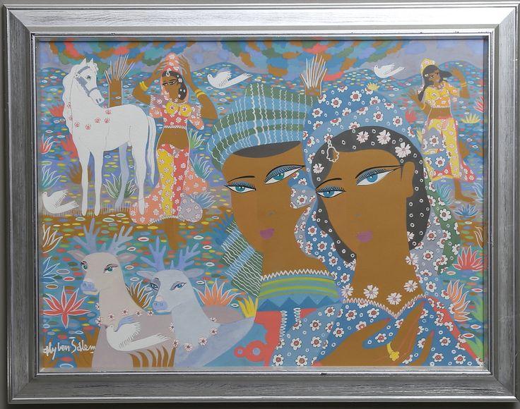 ALY BEN SALEM. Motiv med kvinnor och vita hästar. Gouache, signerad Aly ben Salem.