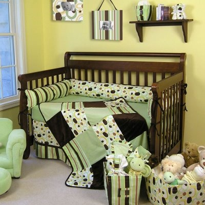Yellow Walls With Green Amp Chocolate Brown Crib Bedding