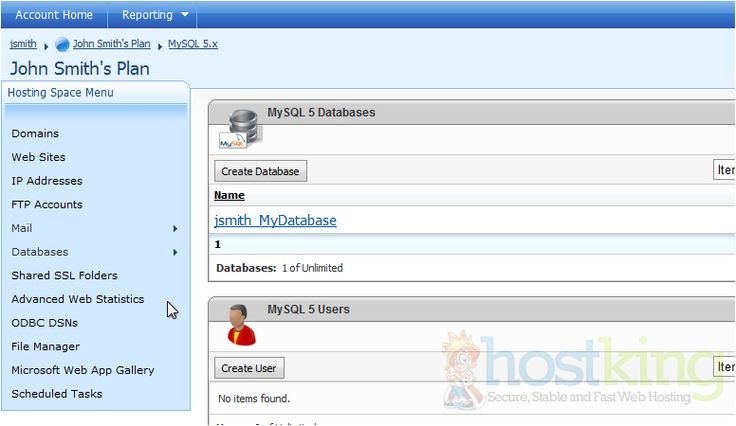 How to create a MySQL database in WebsitePanel