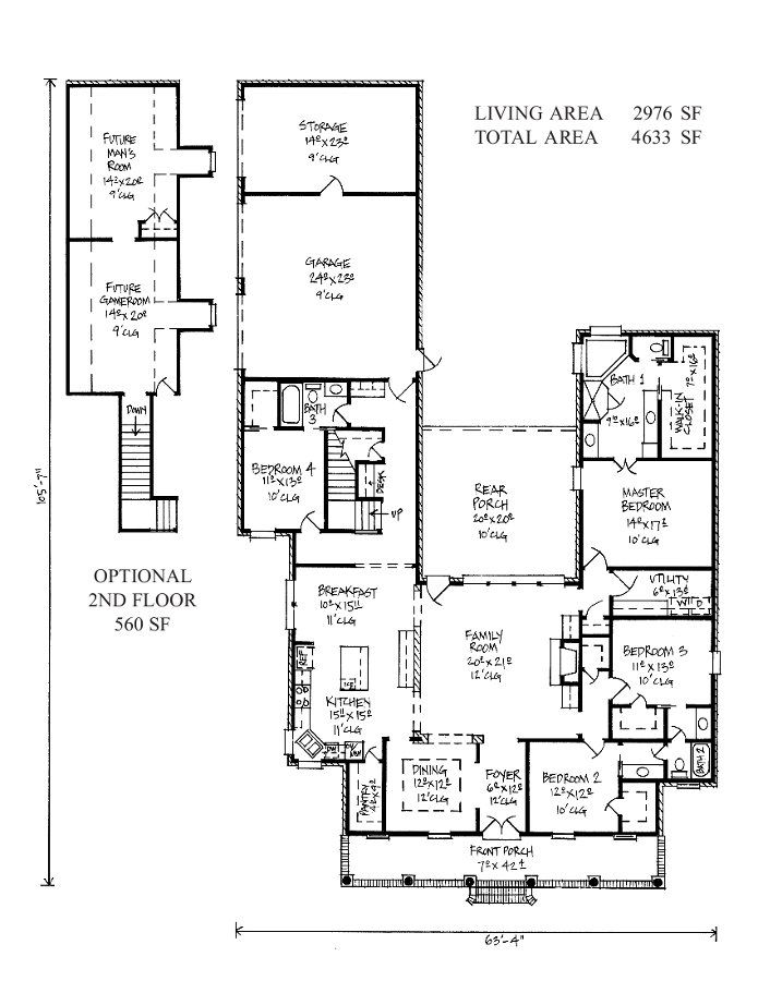 Attractive Acadian Style Home Floor Plans | Harris   Acadian House Plans/Louisiana  House Plans