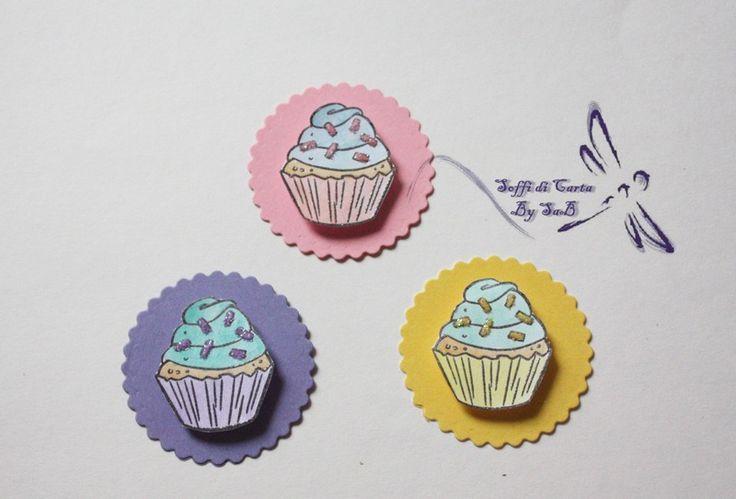Set 3 Chiudipacco con Cupcakes di Soffi di Carta By Sab su DaWanda.com