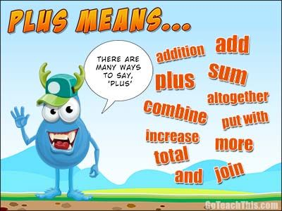What does plus mean? A Free Printable Poster for your Math Wall or behind the Bathroom Door :-)