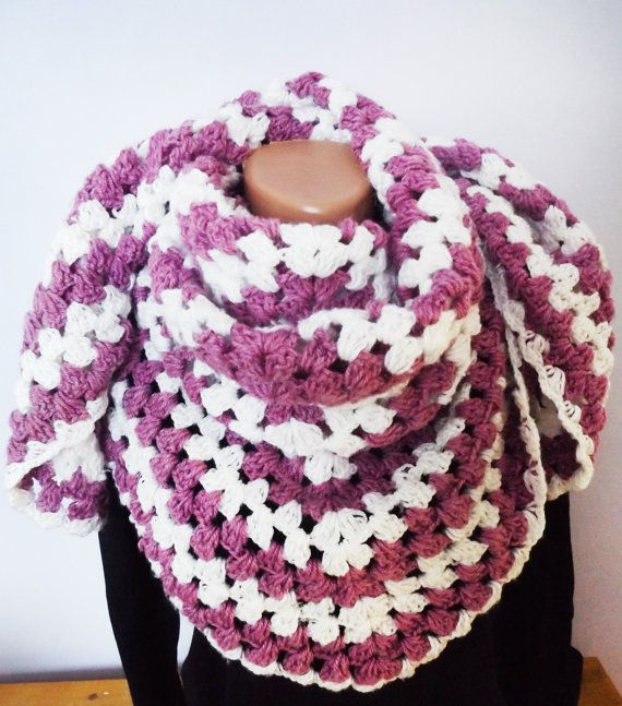 Crochet Triangular Simple Shawl Custom Color by CharmingBeautique