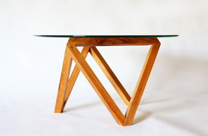 Tre coffee table glass wood modern (690.00 USD) by petrifieddesign