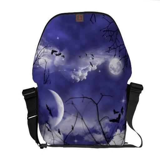 Moonlit Night Vampire Bats Goth Messenger Bag