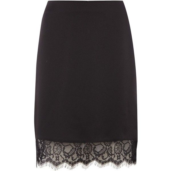 Therapy Nilah Lace Trim Satin Pencil Skirt (£35) ❤ liked on Polyvore featuring skirts, black, women, satin skirt, knee length pencil skirt, satin pencil skirt, pencil skirt and lace trim skirt