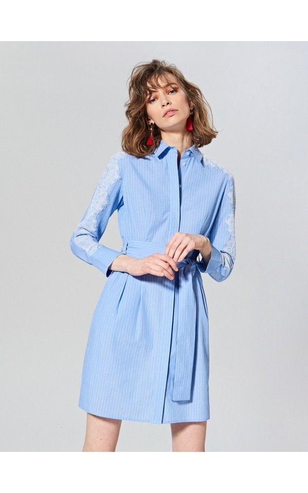 Sukienka W Prazki Sukienki Kombinezony Niebieski Reserved Striped Dress Clothes Dresses