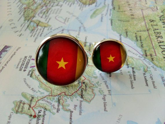 CAMEROON FLAG Silver Cufflinks / National Flag by BjeweledVintage