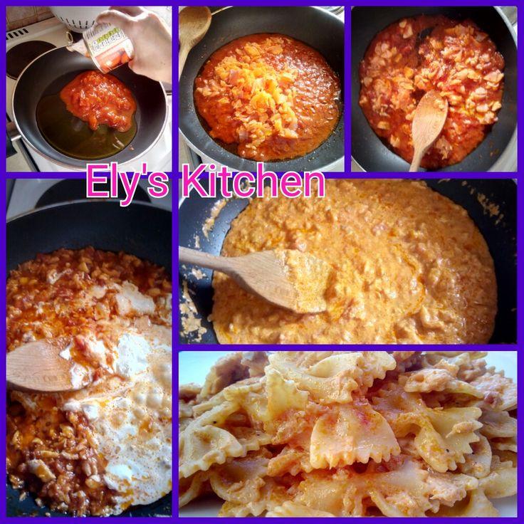 Farfalle al salmone. Ricetta gustosa e facilissima! Se ti piace, seguimi su Ely's Kitchen :)