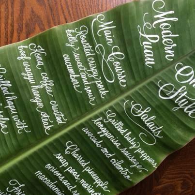For A Tropical Wedding Write The Menu On A Leaf White