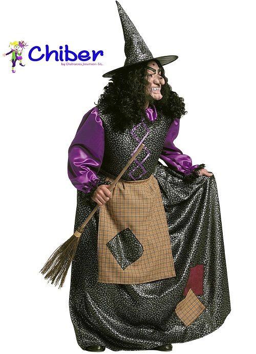 Disfraz Bruja Vieja: En los cuentos infantiles tradicionales, las brujas, son descritas como mujeres feas y malvadas, que tienen poderes mágicos y que, generalmente, pueden volar montadas en un escoba.