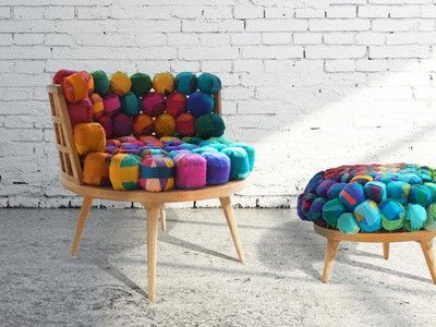 Love this colourful and playfully recycled silk textile seating by Meb Rure