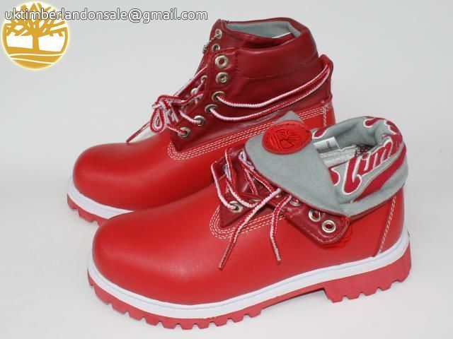 Custom Ruby Red Timberland Roll Top Anti-Fatigue Men Boots $95.99