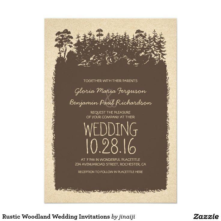 "Rustic Woodland Wedding Invitations 5"" X 7"" Invitation Card"