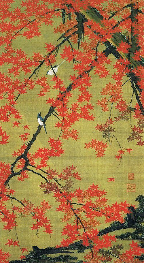 Red Maple and Small Birds (Kosho Shoukin Zu) by Jakuchu Ito #Japan #art #Jakuchu